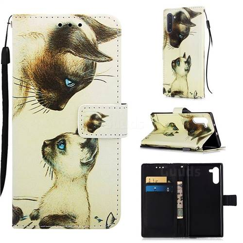 Cat Confrontation Matte Leather Wallet Phone Case for Samsung Galaxy Note 10 (6.28 inch) / Note10 5G