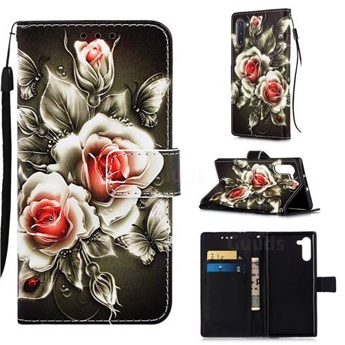 Black Rose Matte Leather Wallet Phone Case for Samsung Galaxy Note 10 (6.28 inch) / Note10 5G