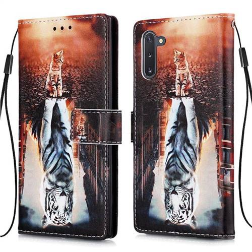 Cat and Tiger Matte Leather Wallet Phone Case for Samsung Galaxy Note 10 (6.28 inch) / Note10 5G