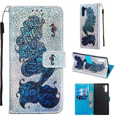Mermaid Seahorse Sequins Painted Leather Wallet Case for Samsung Galaxy Note 10 (6.28 inch) / Note10 5G