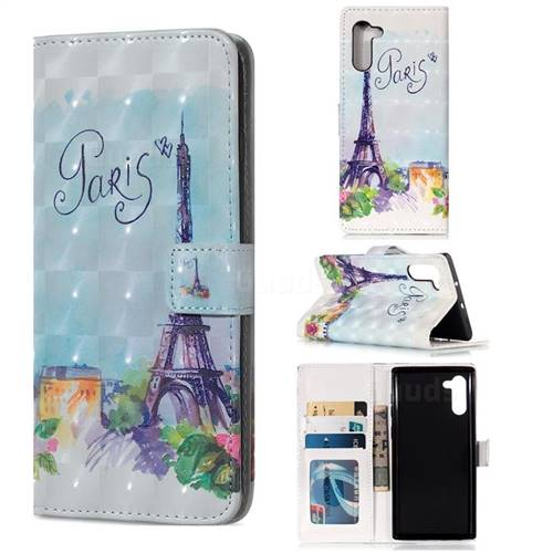 Paris Tower 3D Painted Leather Phone Wallet Case for Samsung Galaxy Note 10 (6.28 inch) / Note10 5G