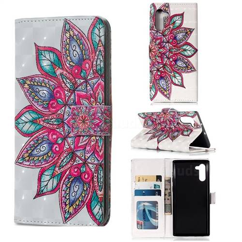 Mandara Flower 3D Painted Leather Phone Wallet Case for Samsung Galaxy Note 10 (6.28 inch) / Note10 5G
