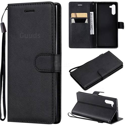 Retro Greek Classic Smooth PU Leather Wallet Phone Case for Samsung Galaxy Note 10 (6.28 inch) / Note10 5G - Black