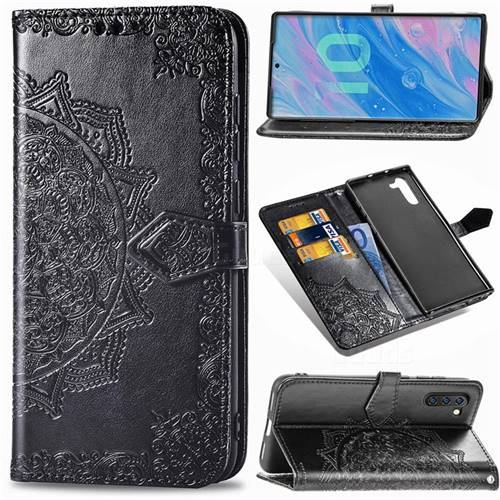 Embossing Imprint Mandala Flower Leather Wallet Case for Samsung Galaxy Note 10 (6.28 inch) / Note10 5G - Black