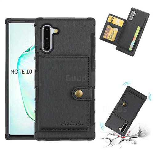 Brush Multi-function Leather Phone Case for Samsung Galaxy Note 10 (6.28 inch) / Note10 5G - Black
