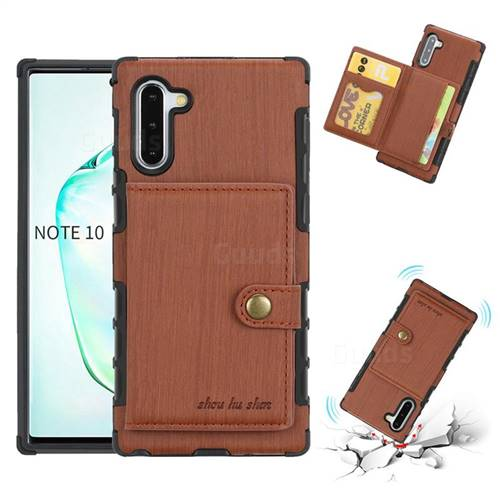 Brush Multi-function Leather Phone Case for Samsung Galaxy Note 10 (6.28 inch) / Note10 5G - Brown