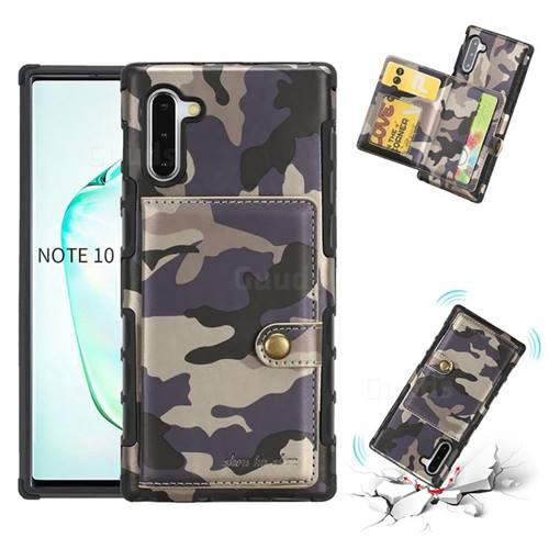 Camouflage Multi-function Leather Phone Case for Samsung Galaxy Note 10 (6.28 inch) / Note10 5G - Gray
