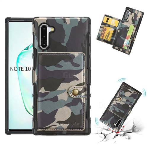 Camouflage Multi-function Leather Phone Case for Samsung Galaxy Note 10 (6.28 inch) / Note10 5G - Army Green
