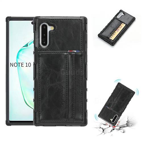 Luxury Shatter-resistant Leather Coated Card Phone Case for Samsung Galaxy Note 10 (6.28 inch) / Note10 5G - Black