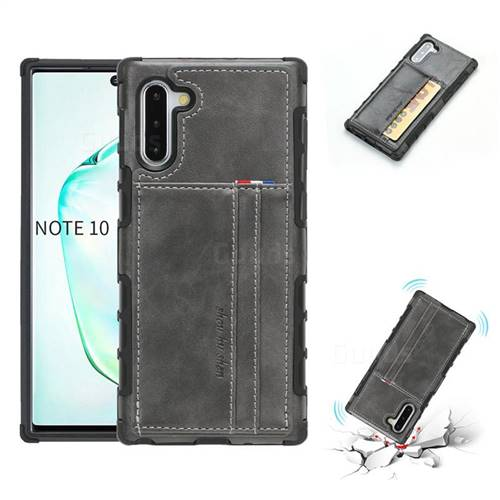 Luxury Shatter-resistant Leather Coated Card Phone Case for Samsung Galaxy Note 10 (6.28 inch) / Note10 5G - Gray