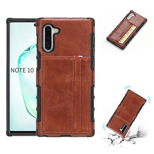 Luxury Shatter-resistant Leather Coated Card Phone Case for Samsung Galaxy Note 10 (6.28 inch) / Note10 5G - Brown
