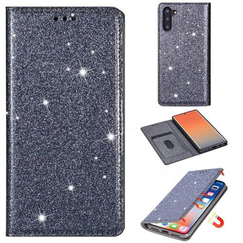 Ultra Slim Glitter Powder Magnetic Automatic Suction Leather Wallet Case for Samsung Galaxy Note 10 (6.28 inch) / Note10 5G - Gray