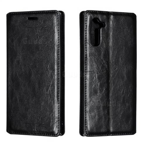 Retro Slim Magnetic Crazy Horse PU Leather Wallet Case for Samsung Galaxy Note 10 (6.28 inch) / Note10 5G - Black