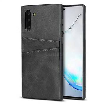 Simple Calf Card Slots Mobile Phone Back Cover for Samsung Galaxy Note 10 (6.28 inch) / Note10 5G - Black