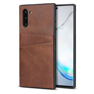 Simple Calf Card Slots Mobile Phone Back Cover for Samsung Galaxy Note 10 (6.28 inch) / Note10 5G - Coffee