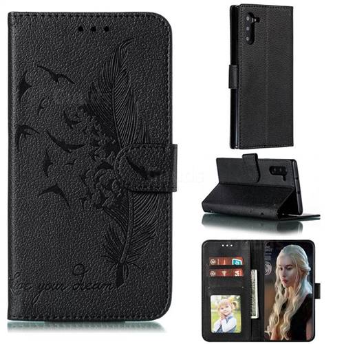 Intricate Embossing Lychee Feather Bird Leather Wallet Case for Samsung Galaxy Note 10 (6.28 inch) / Note10 5G - Black