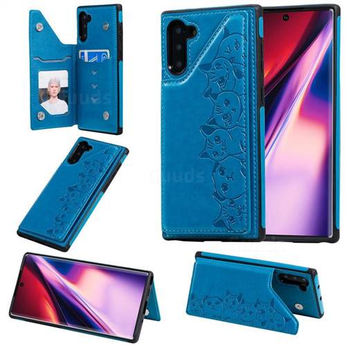 Yikatu Luxury Cute Cats Multifunction Magnetic Card Slots Stand Leather Back Cover for Samsung Galaxy Note 10 (6.28 inch) / Note10 5G - Blue