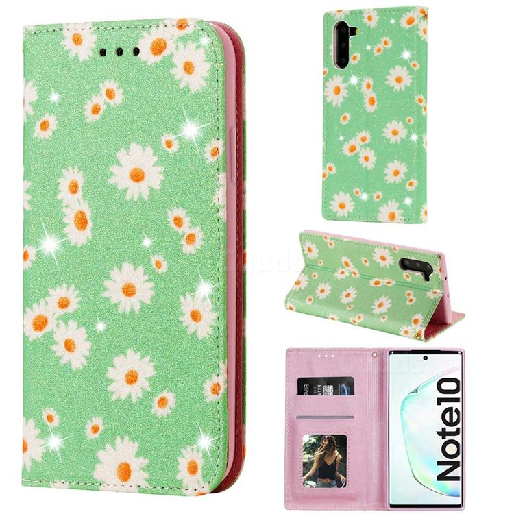Ultra Slim Daisy Sparkle Glitter Powder Magnetic Leather Wallet Case for Samsung Galaxy Note 10 (6.28 inch) / Note10 5G - Green