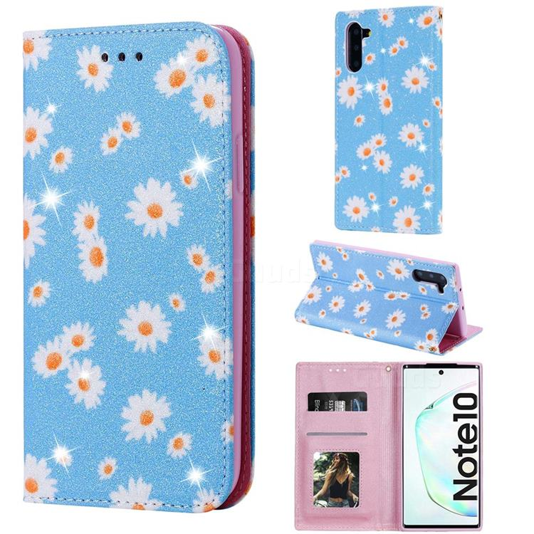 Ultra Slim Daisy Sparkle Glitter Powder Magnetic Leather Wallet Case for Samsung Galaxy Note 10 (6.28 inch) / Note10 5G - Blue