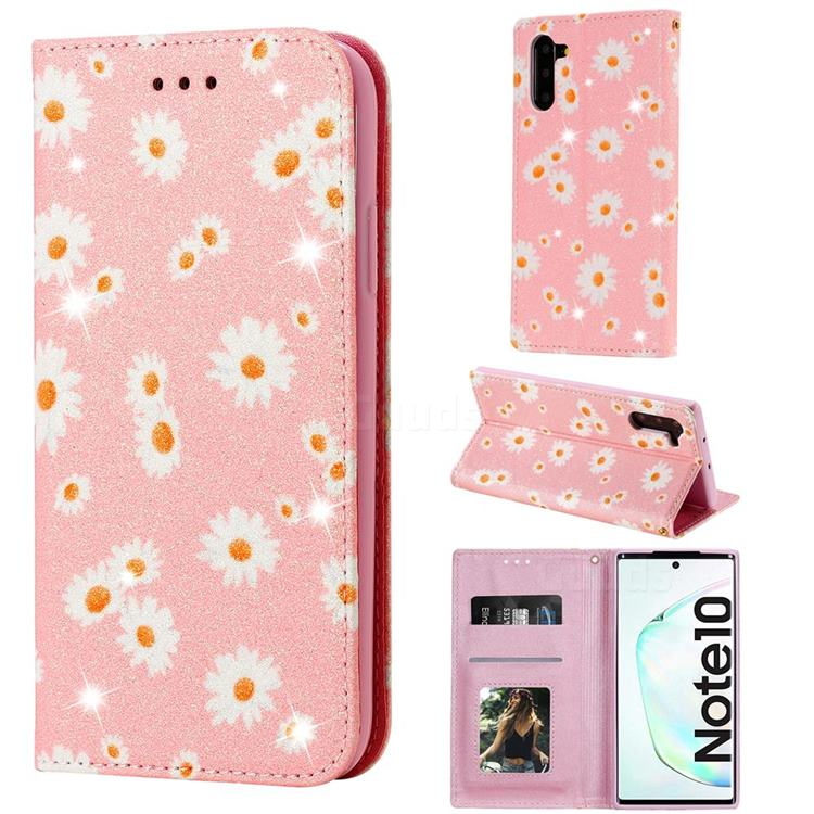 Ultra Slim Daisy Sparkle Glitter Powder Magnetic Leather Wallet Case for Samsung Galaxy Note 10 (6.28 inch) / Note10 5G - Pink