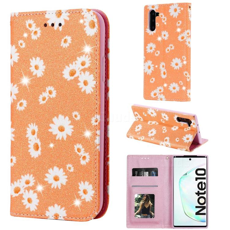 Ultra Slim Daisy Sparkle Glitter Powder Magnetic Leather Wallet Case for Samsung Galaxy Note 10 (6.28 inch) / Note10 5G - Orange