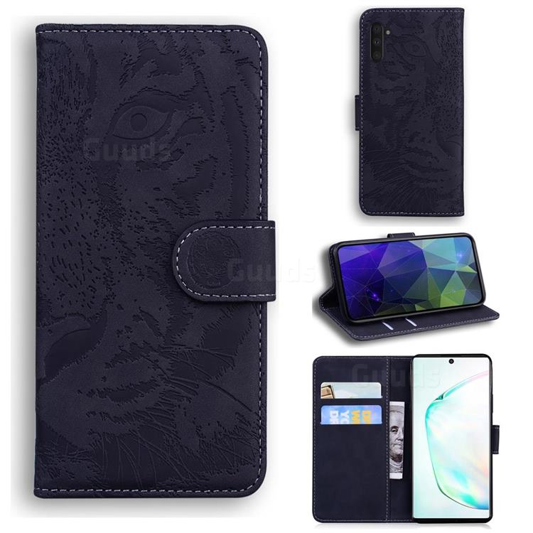 Intricate Embossing Tiger Face Leather Wallet Case for Samsung Galaxy Note 10 (6.28 inch) / Note10 5G - Black
