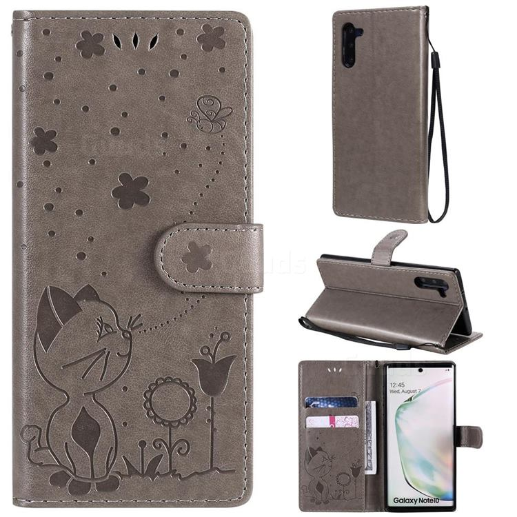Embossing Bee and Cat Leather Wallet Case for Samsung Galaxy Note 10 (6.28 inch) / Note10 5G - Gray