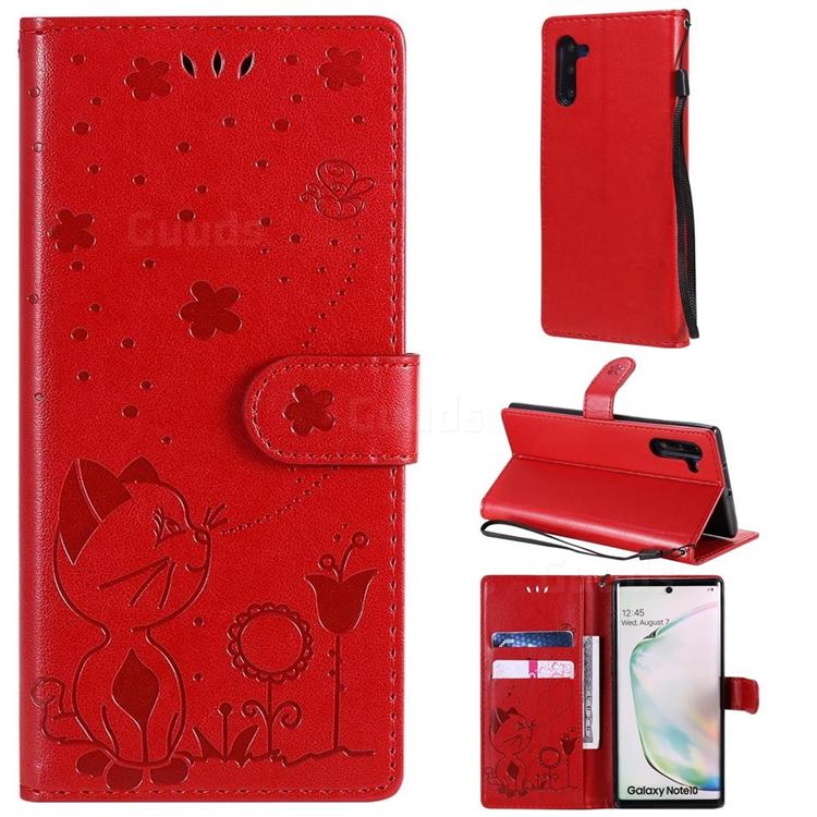 Embossing Bee and Cat Leather Wallet Case for Samsung Galaxy Note 10 (6.28 inch) / Note10 5G - Red