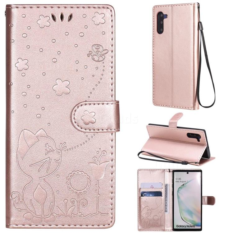 Embossing Bee and Cat Leather Wallet Case for Samsung Galaxy Note 10 (6.28 inch) / Note10 5G - Rose Gold