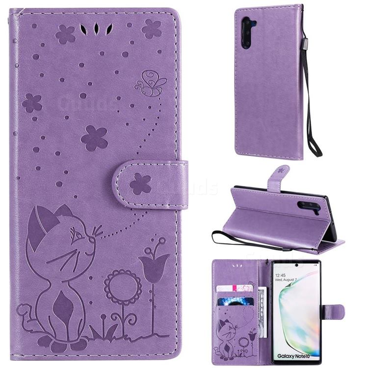 Embossing Bee and Cat Leather Wallet Case for Samsung Galaxy Note 10 (6.28 inch) / Note10 5G - Purple