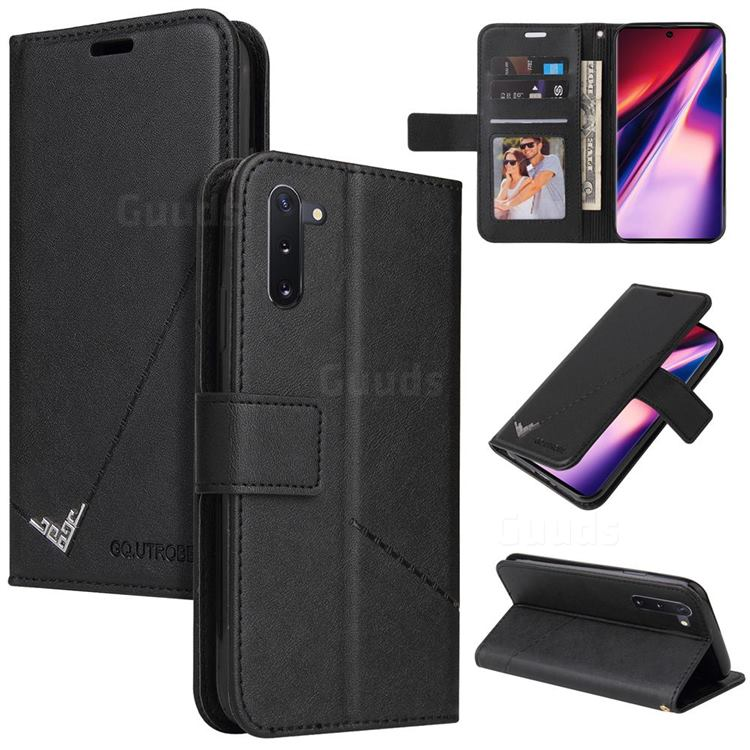 GQ.UTROBE Right Angle Silver Pendant Leather Wallet Phone Case for Samsung Galaxy Note 10 (6.28 inch) / Note10 5G - Black