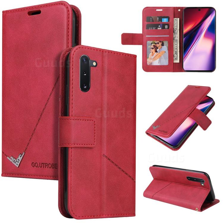 GQ.UTROBE Right Angle Silver Pendant Leather Wallet Phone Case for Samsung Galaxy Note 10 (6.28 inch) / Note10 5G - Red