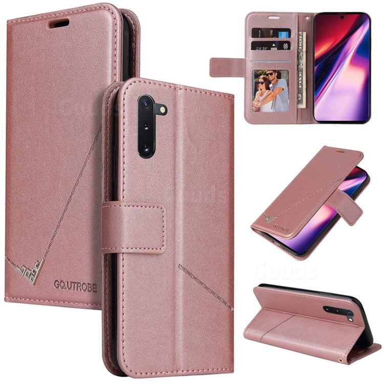 GQ.UTROBE Right Angle Silver Pendant Leather Wallet Phone Case for Samsung Galaxy Note 10 (6.28 inch) / Note10 5G - Rose Gold