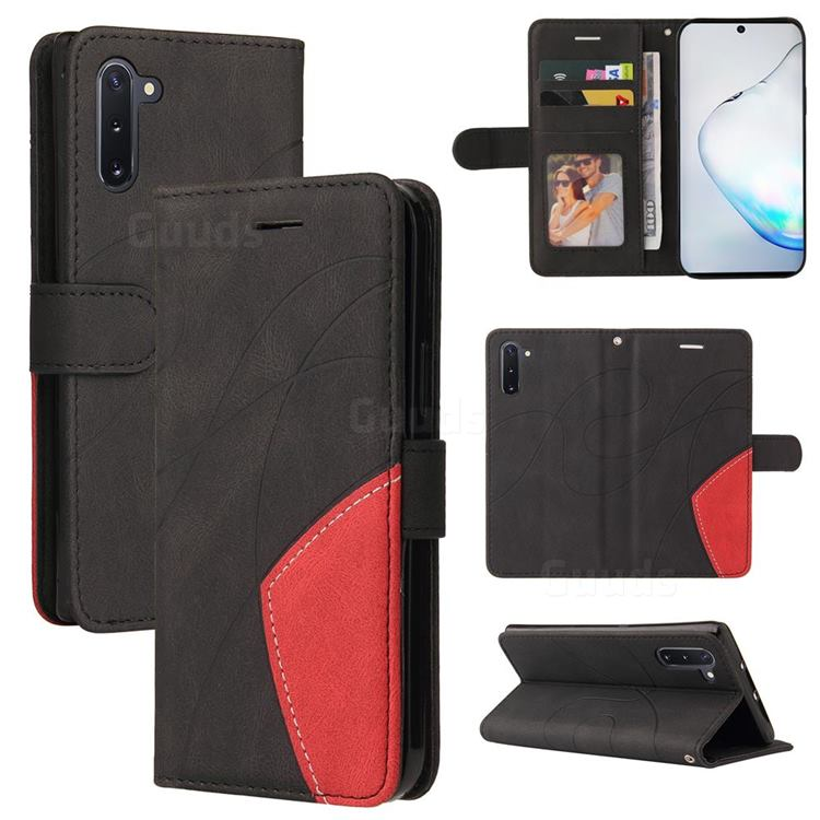 Luxury Two-color Stitching Leather Wallet Case Cover for Samsung Galaxy Note 10 (6.28 inch) / Note10 5G - Black