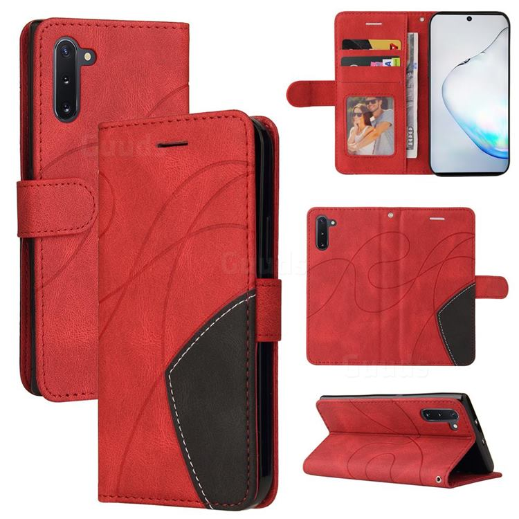 Luxury Two-color Stitching Leather Wallet Case Cover for Samsung Galaxy Note 10 (6.28 inch) / Note10 5G - Red