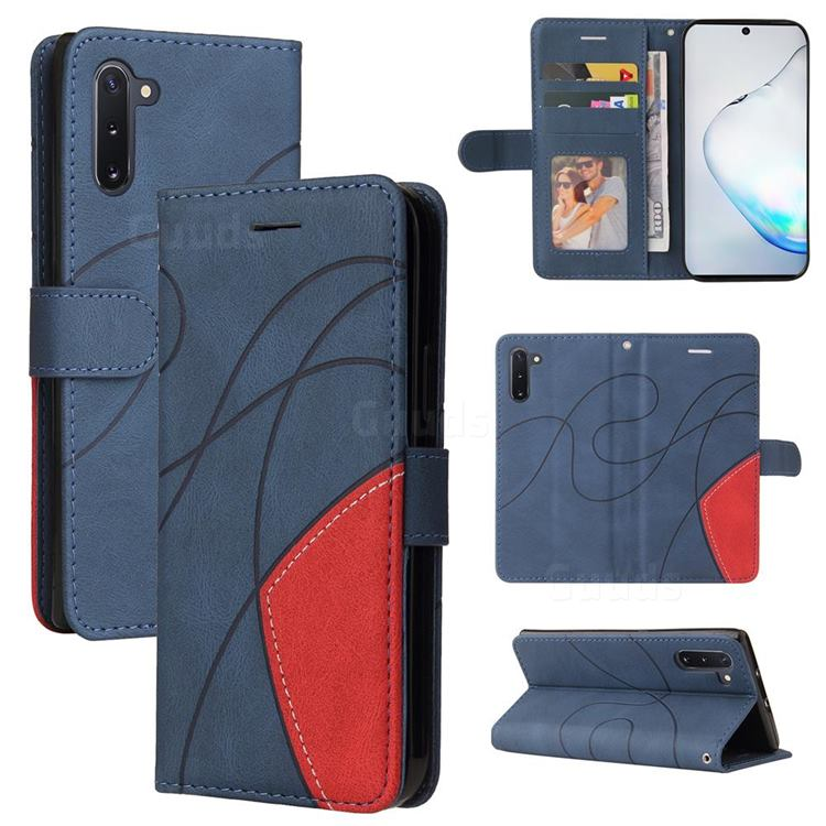 Luxury Two-color Stitching Leather Wallet Case Cover for Samsung Galaxy Note 10 (6.28 inch) / Note10 5G - Blue