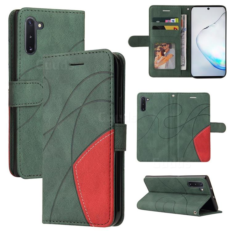 Luxury Two-color Stitching Leather Wallet Case Cover for Samsung Galaxy Note 10 (6.28 inch) / Note10 5G - Green