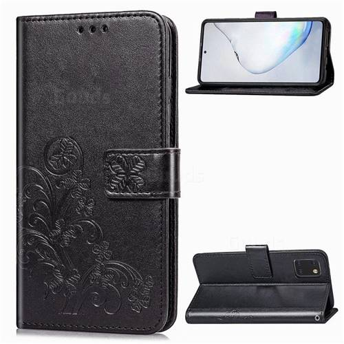 Embossing Imprint Four-Leaf Clover Leather Wallet Case for Samsung Galaxy Note 10 Lite - Black
