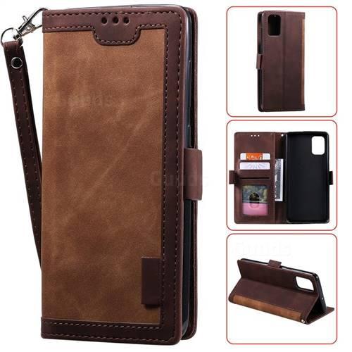 Luxury Retro Stitching Leather Wallet Phone Case for Samsung Galaxy Note 10 Lite - Dark Brown