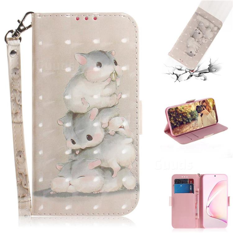 Three Squirrels 3D Painted Leather Wallet Phone Case for Samsung Galaxy Note 10 Lite