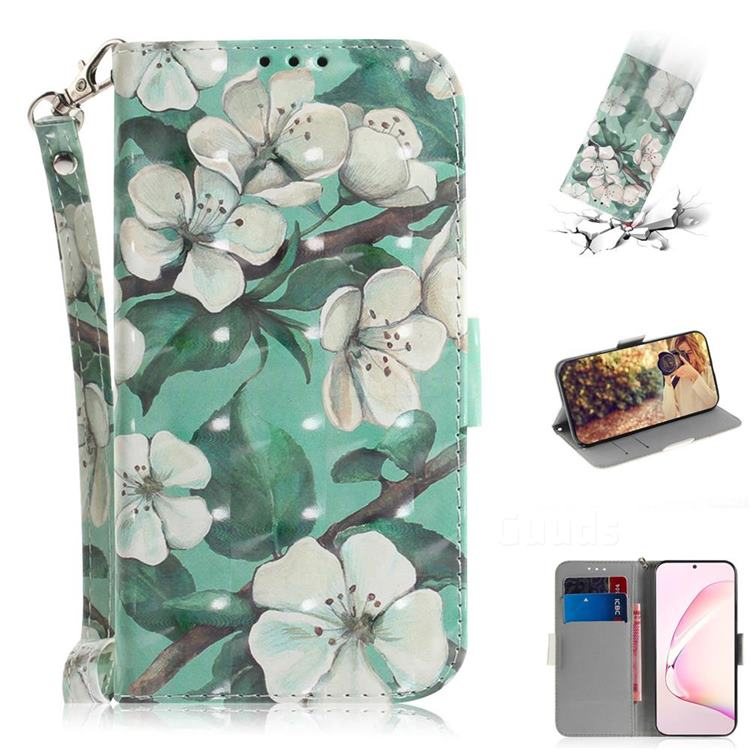 Watercolor Flower 3D Painted Leather Wallet Phone Case for Samsung Galaxy Note 10 Lite