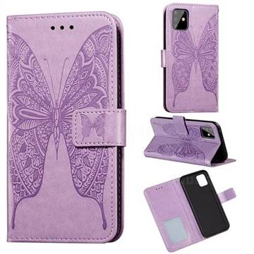 Intricate Embossing Vivid Butterfly Leather Wallet Case for Samsung Galaxy Note 10 Lite - Purple