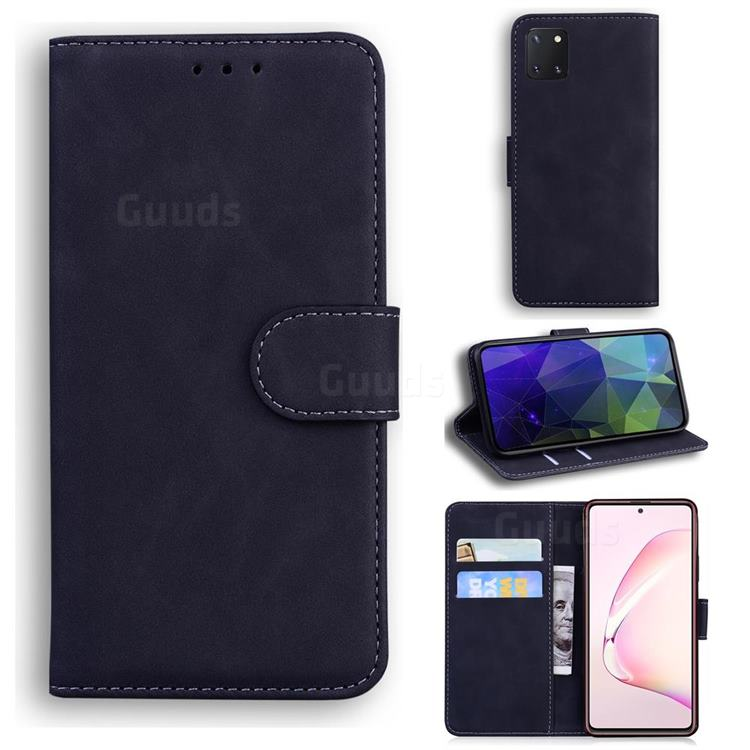 Retro Classic Skin Feel Leather Wallet Phone Case for Samsung Galaxy Note 10 Lite - Black
