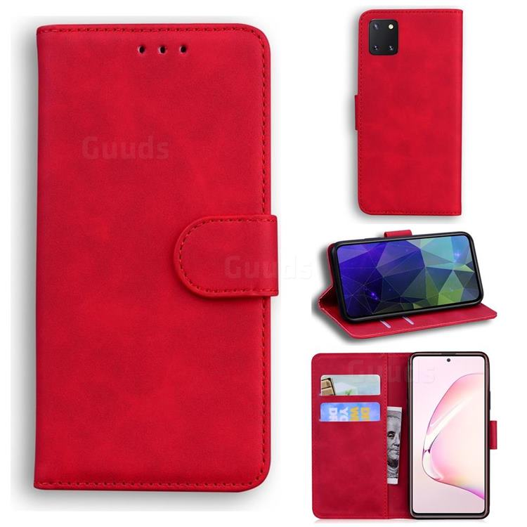 Retro Classic Skin Feel Leather Wallet Phone Case for Samsung Galaxy Note 10 Lite - Red