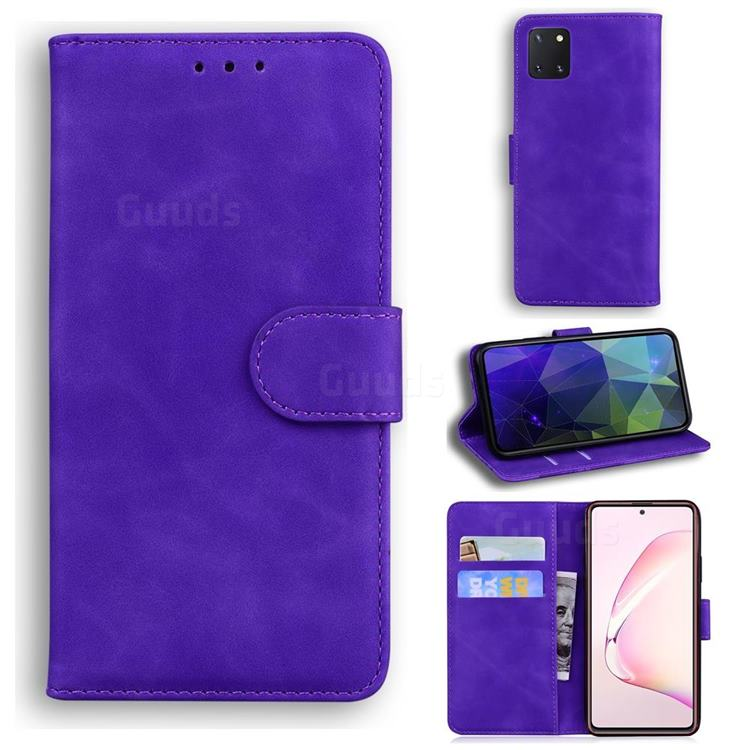 Retro Classic Skin Feel Leather Wallet Phone Case for Samsung Galaxy Note 10 Lite - Purple