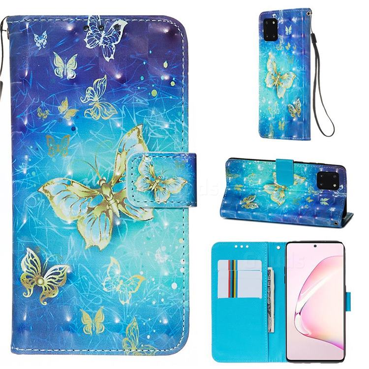 Gold Butterfly 3D Painted Leather Wallet Case for Samsung Galaxy Note 10 Lite