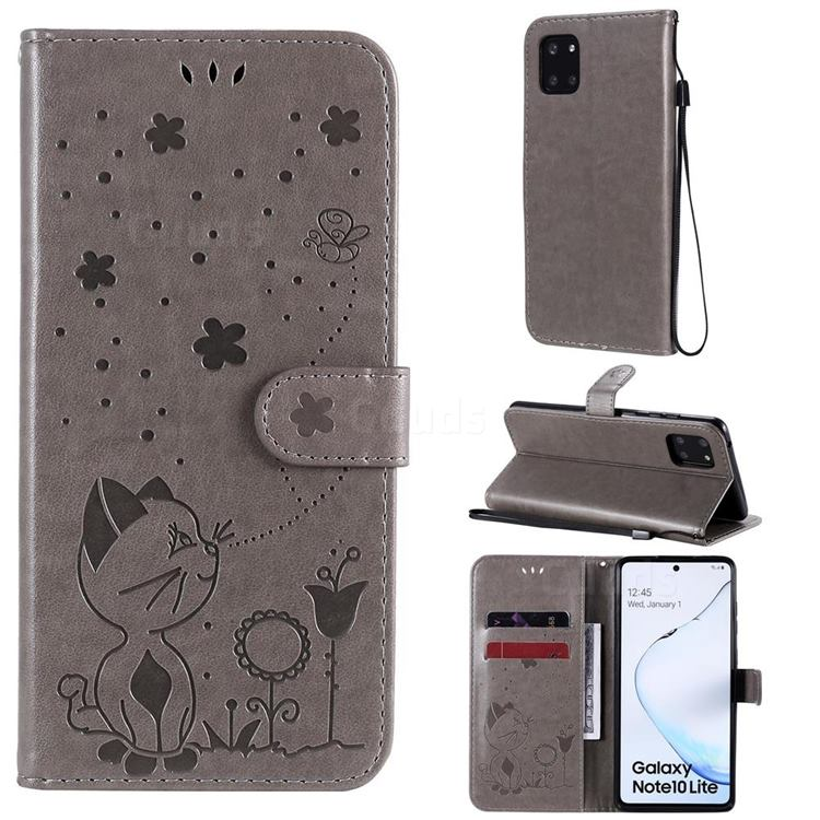 Embossing Bee and Cat Leather Wallet Case for Samsung Galaxy Note 10 Lite - Gray