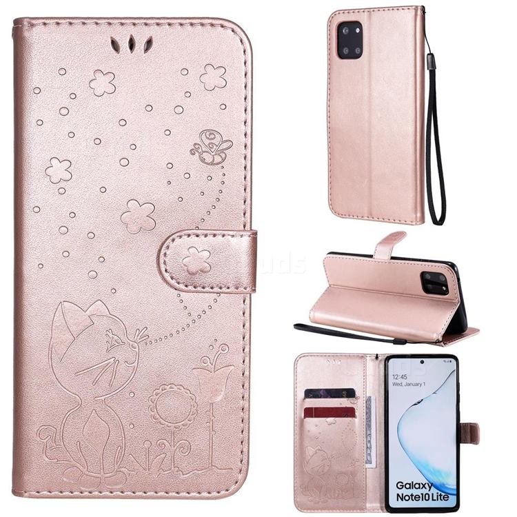 Embossing Bee and Cat Leather Wallet Case for Samsung Galaxy Note 10 Lite - Rose Gold