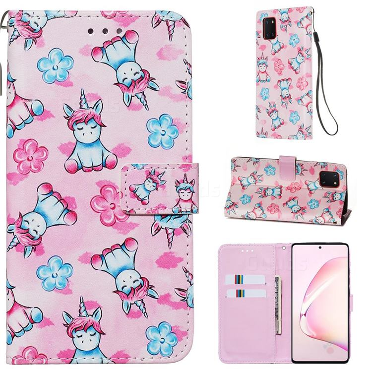 Unicorn and Flowers Matte Leather Wallet Phone Case for Samsung Galaxy Note 10 Lite