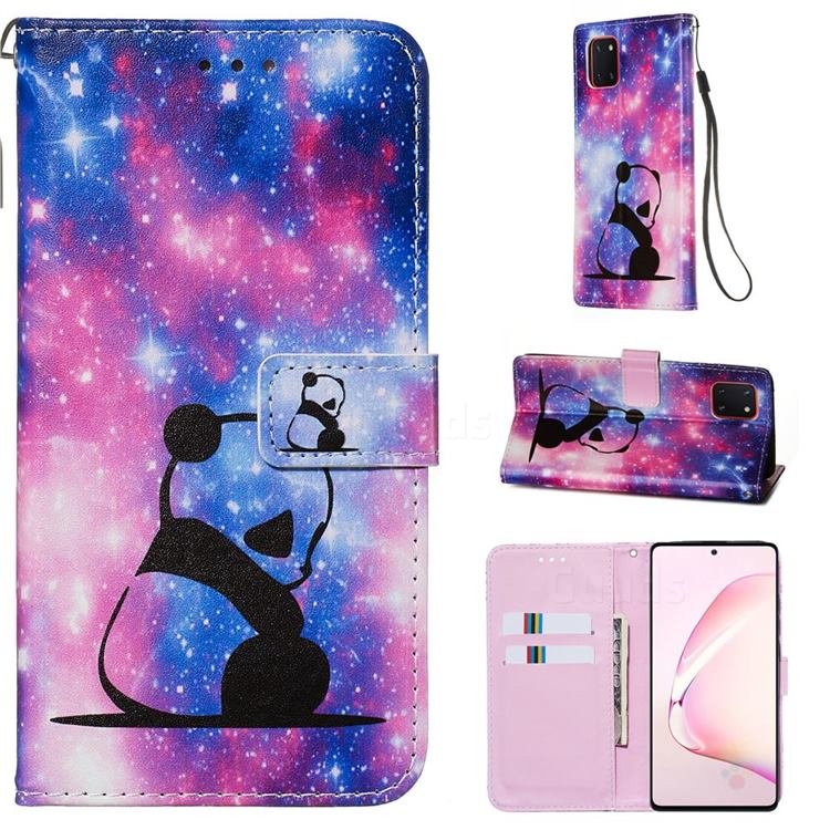 Panda Baby Matte Leather Wallet Phone Case for Samsung Galaxy Note 10 Lite
